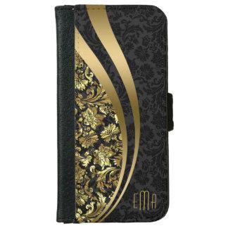 Elegant Black & Gold Damasks Dynamic Stripes iPhone 6/6s Wallet Case