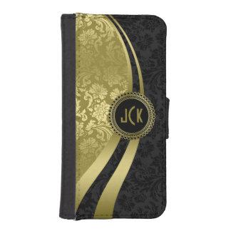 Elegant Black & Gold Damasks Dynamic Stripes iPhone SE/5/5s Wallet