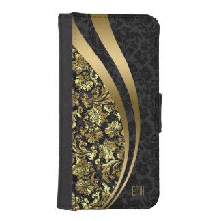 Elegant Black & Gold Damasks Dynamic Stripes iPhone SE/5/5s Wallet Case