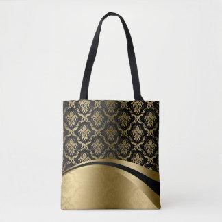 Elegant Black & Gold Damasks Geometric Design Tote Bag
