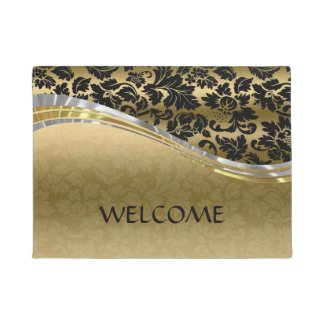 Elegant Black & Gold Damasks With Silver Accents 2