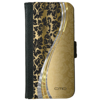 Elegant Black & Gold Damasks With Silver Accents iPhone 6 Wallet Case