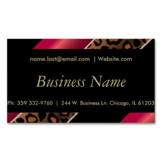 Elegant Black, Gold & Deep Red Leopard Stripes Magnetic Business Card