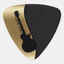 Elegant Black & Gold Design Guitar Silhouette Guitar Pick