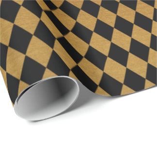 Elegant black gold diamond pattern party wrap wrapping paper