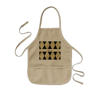 Elegant Black & Gold Diamonds Kids' Apron