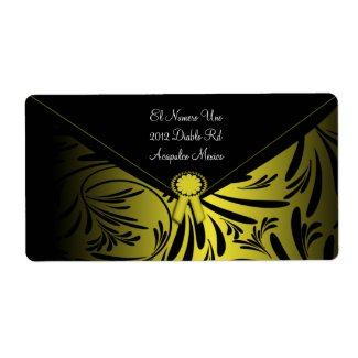 Elegant Black Gold Envelope Labels label