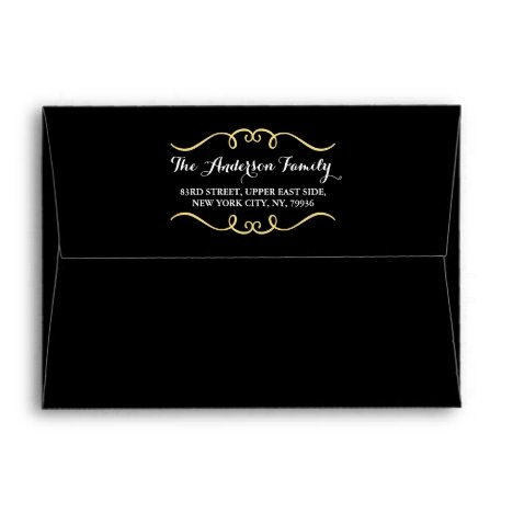 Elegant Black Gold Family Name Return Address 5x7 Envelope