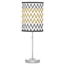Elegant black gold faux glitter chevron zigzag table lamp