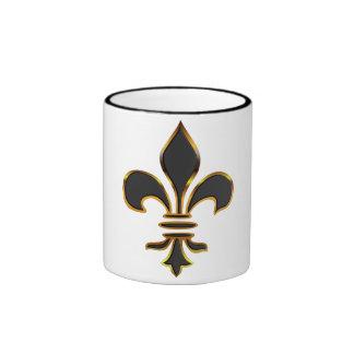 Elegant Black & Gold Fleur-de-lis Mug