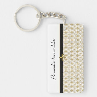 Elegant Black Gold Fleur de Lis Pattern Rectangle Acrylic Keychains