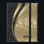 """Elegant Black &amp; Gold Floral Damasks Pattern iPad Cover<br><div class=""""desc"""">Elegant black and gold girly floral damasks pattern. Customizable monogram. If you need any help customizing any of my designs,  contact ArtOnWear designer. Free text formatting with live help available by request.</div>"""