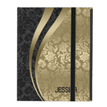 Elegant Black & Gold Floral Damasks Pattern iPad Cover