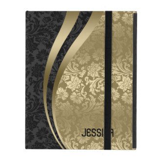 Elegant Black & Gold Floral Damasks Pattern iPad Cover