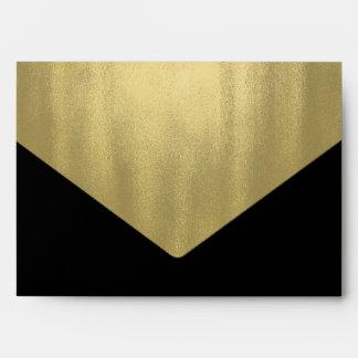 Elegant Black Gold Foil Envelope