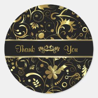 Elegant Black & Gold Foil Look Floral Damasks Classic Round Sticker