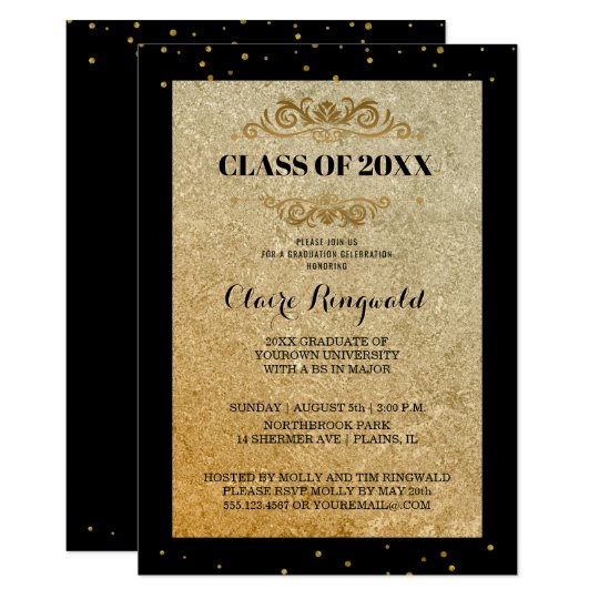 elegant black gold formal college graduation party invitation