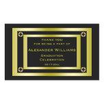 Elegant Black & Gold Framed Graduation Thank You Rectangular Sticker