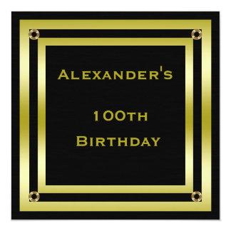 Elegant Black & Gold Framed Man's 100th Birthday Card