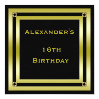 Elegant Black & Gold Framed Man's 16th Birthday Card