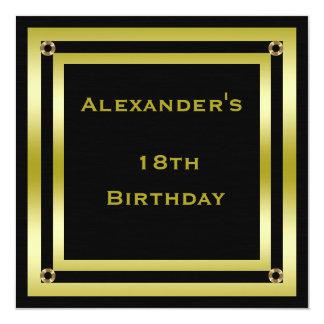 Elegant Black & Gold Framed Man's 18th Birthday Card
