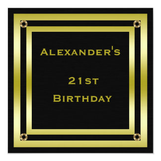 Elegant Black & Gold Framed Man's 21st Birthday Card