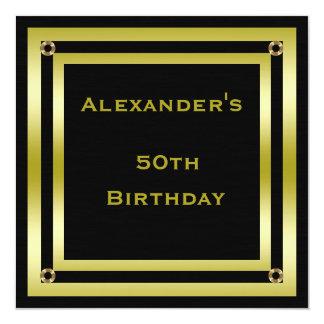 Elegant Black & Gold Framed Man's 50th Birthday Card