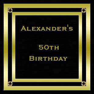 Elegant Black Gold Framed Mans 50th Birthday Invitation