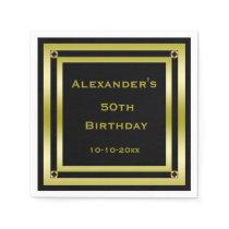 Elegant Black & Gold Framed Man's 50th Birthday Paper Napkin