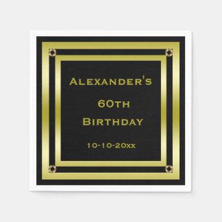 Elegant Black & Gold Framed Man's 60th Birthday Paper Napkin