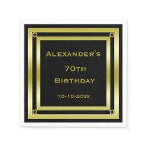 Elegant Black & Gold Framed Man's 70th Birthday Paper Napkin
