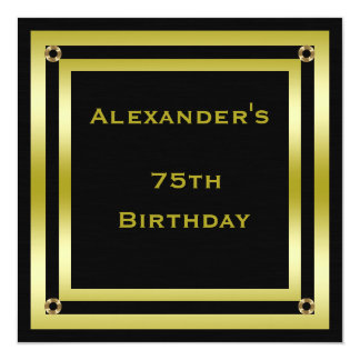 Elegant Black & Gold Framed Man's 75th Birthday Card