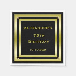 Elegant Black & Gold Framed Man's 75th Birthday Paper Napkin