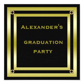 Elegant Black & Gold Framed Man's Graduation Card