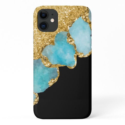 Elegant Black Gold Girly Sparkle Glitter iPhone 11 Case