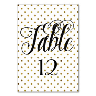 Elegant Black Gold Glam Dots table number