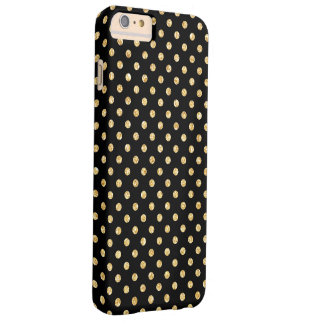 Elegant Black Gold Glitter Polka Dots Pattern Barely There iPhone 6 Plus Case