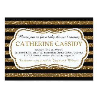 Elegant Black & Gold Glitter Stripes Baby Shower Card