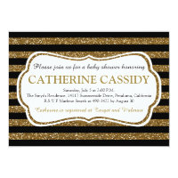 Elegant Black & Gold Glitter Stripes Baby Shower Invitation