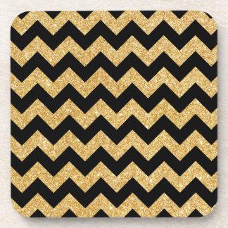 Elegant Black Gold Glitter Zigzag Chevron Pattern Beverage Coaster