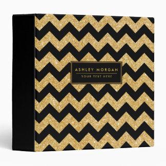 Elegant Black Gold Glitter Zigzag Chevron Pattern Binder