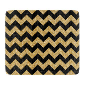 Elegant Black Gold Glitter Zigzag Chevron Pattern Cutting Board