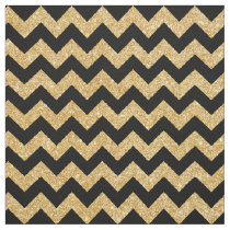 Elegant Black Gold Glitter Zigzag Chevron Pattern Fabric