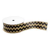 Elegant Black Gold Glitter Zigzag Chevron Pattern Grosgrain Ribbon