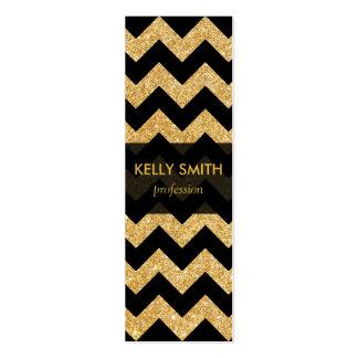 Elegant Black Gold Glitter Zigzag Chevron Pattern Mini Business Card