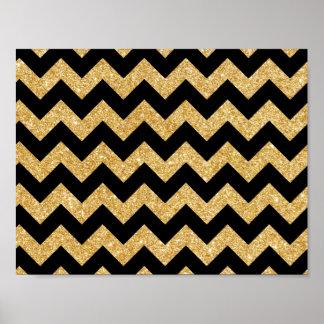 Elegant Black Gold Glitter Zigzag Chevron Pattern Poster