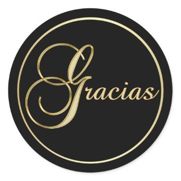 Professional Business Elegant Black Gold GRACIAS Envelope Favor Classic Round Sticker