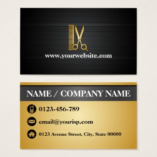 Elegant Black Gold Hair Salon (Personalize) Business Card