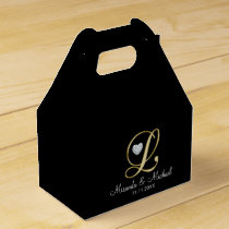Elegant Black Gold Heart Monogram L Wedding Gift Favor Box