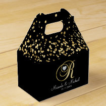Elegant Black Gold Heart Monogram R Wedding Gift Favor Box